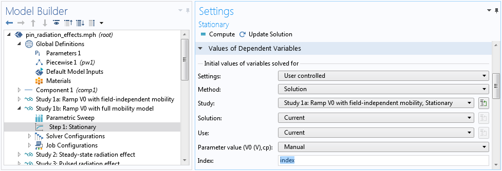 A screenshot of how to index the solution for each voltage value in the Stationary Settings window.