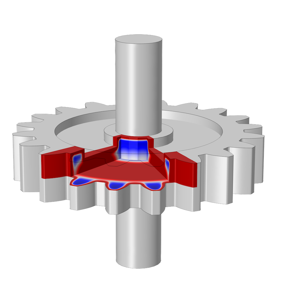 An image of a steel gear modeled in COMSOL Multiphysics®.