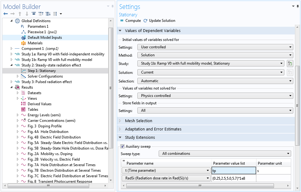 A screenshot showing how to adjust the time parameter in the Stationary Settings window.