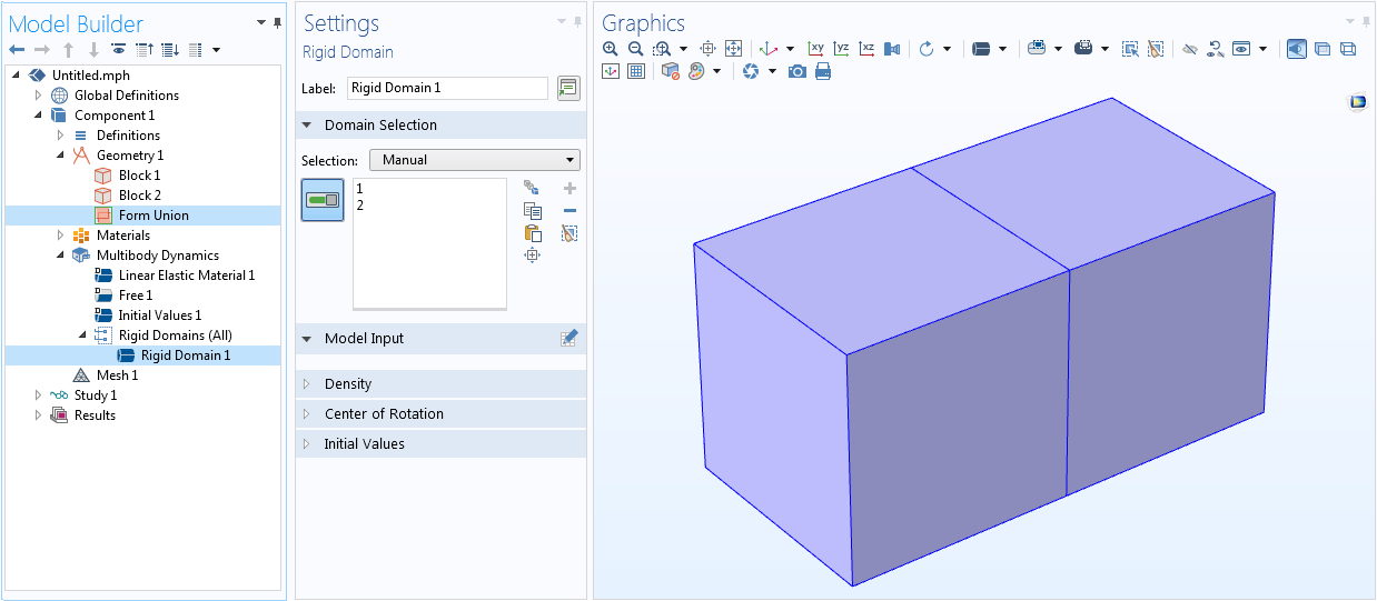 A screenshot of two block geometries in union in one Rigid Domain node in COMSOL Multiphysics®.