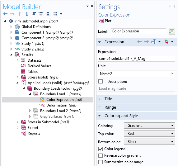 A screenshot of the Color Expression node in the Model Builder Settings window.