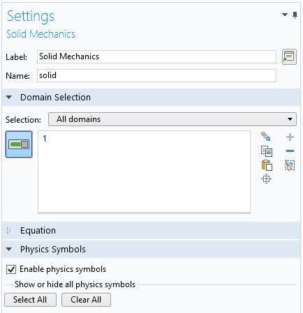A screenshot of the Settings window showing how to enable physics symbols.