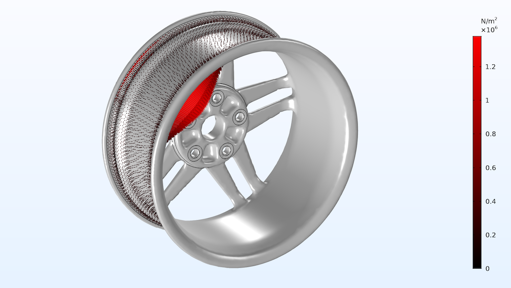An image of the load plot for a wheel rim with gray surfaces enabled.