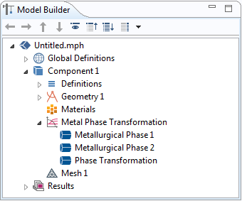 A screenshot of the Model Builder window that shows how to add the Metal Phase Transformation interface and its corresponding nodes.