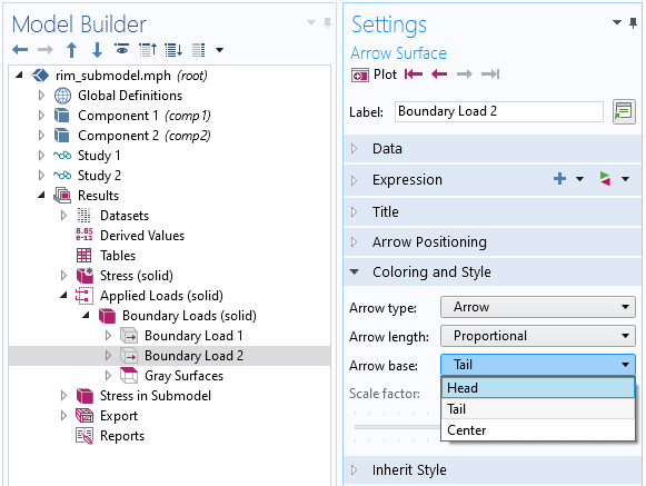 A screenshot of the Model Builder settings showing how to change the location of the arrow base.