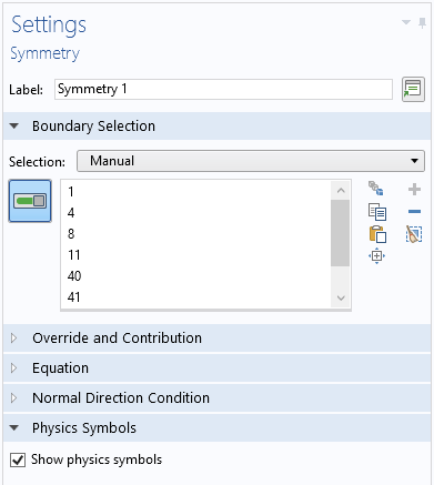 A screenshot of the Settings window that shows how to control the display of the physics symbols for an individual boundary condition.