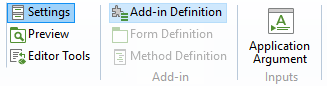 An image of the Add-in Definition button in the Model Builder ribbon.
