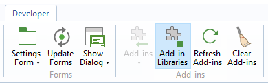 A screenshot of the Add-in Libraries button.