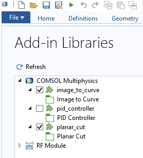 A screenshot of the Add-in Libraries window.