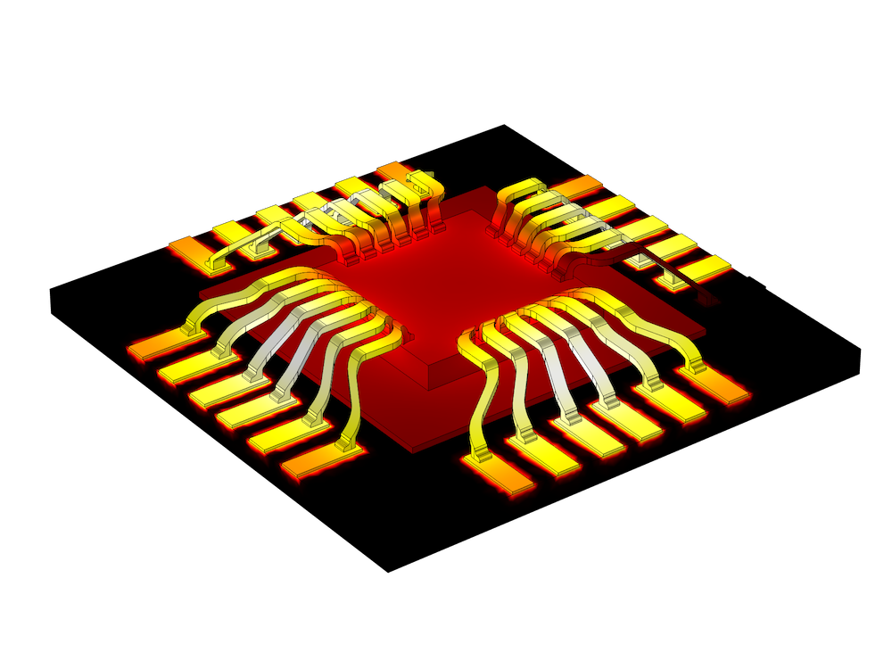 A graphic of Joule heating on bond wires arranged on a chip.