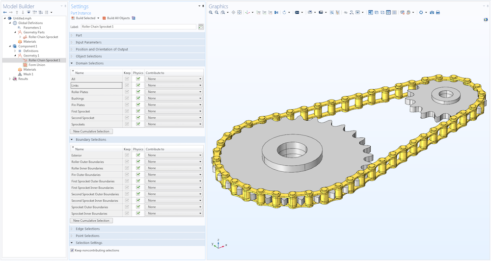 A screenshot of the COMSOL Multiphysics Model Builder with a roller chain sprocket part and different domain and boundary selections open.