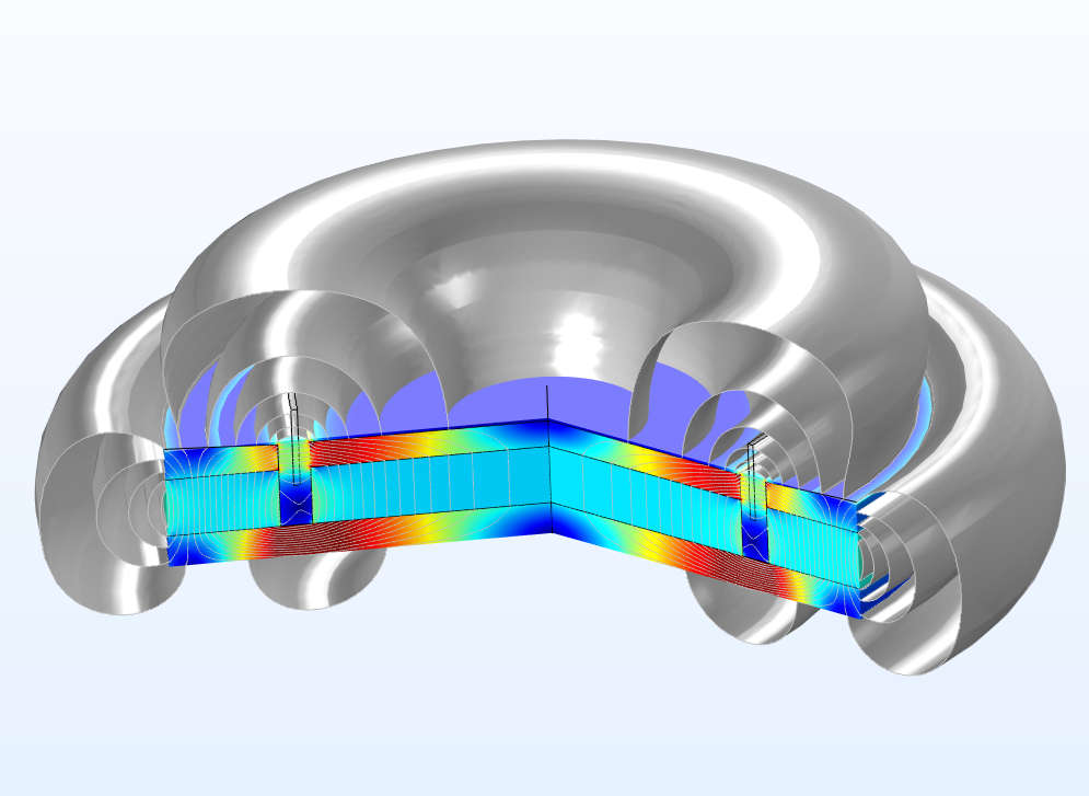 A graphic that shows the magnetic flux density of a microspeaker motor in COMSOL Multiphysics®.