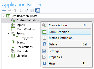 A screenshot showing the Form Definition option for add-ins.