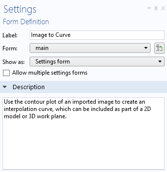 A screenshot of the Form Definition settings.