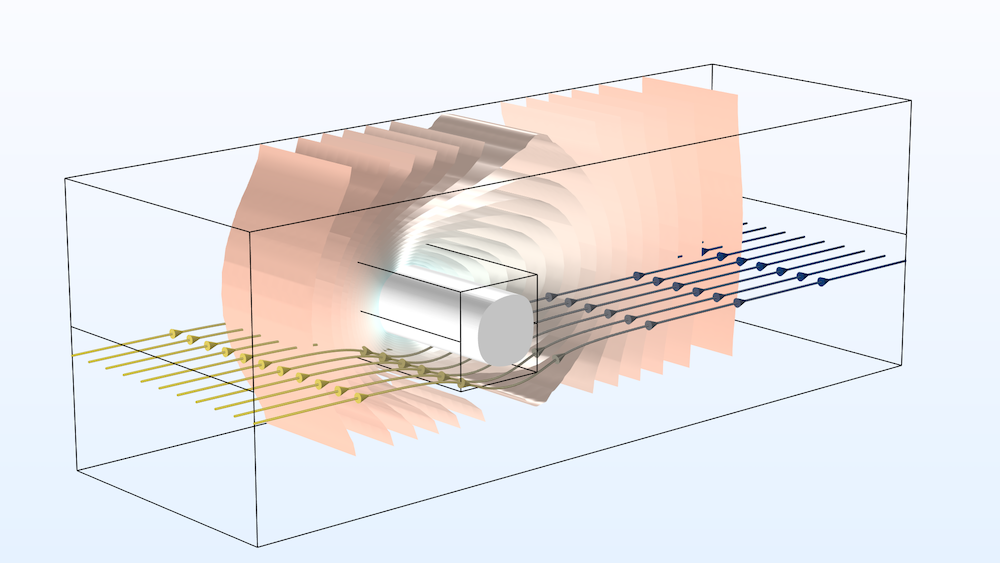 An image showing a model of a frozen inclusion in COMSOL Multiphysics.