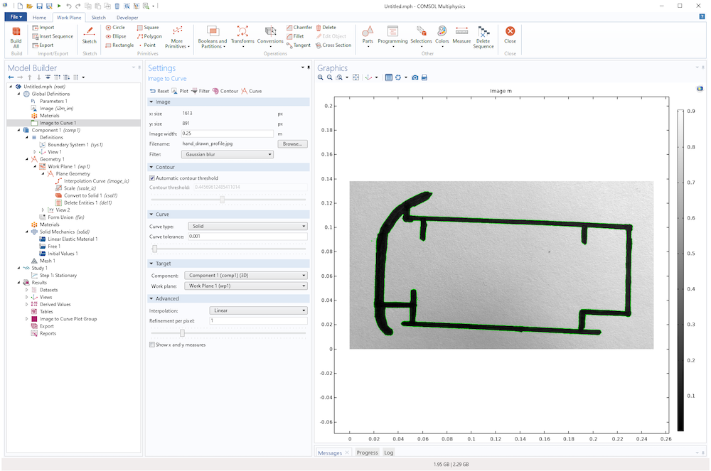 A screenshot of the COMSOL Multiphysics UI with a hand-drawn imported photo and overlaid contour plot.