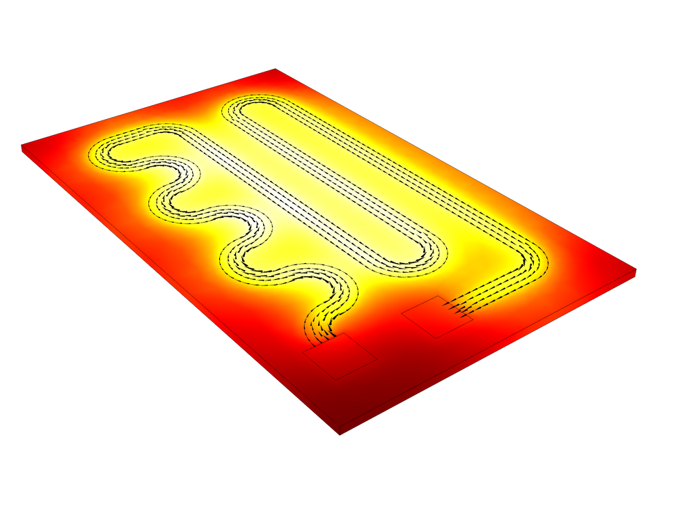 A graphic of a resistive device model using the Joule Heating interface in COMSOL Multiphysics®.
