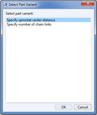 A screenshot showing two part variants for the roller chain sprocket assembly part.