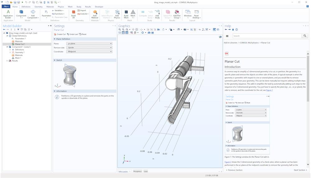 A screenshot of the Planar Cut add-in in the Model Builder.