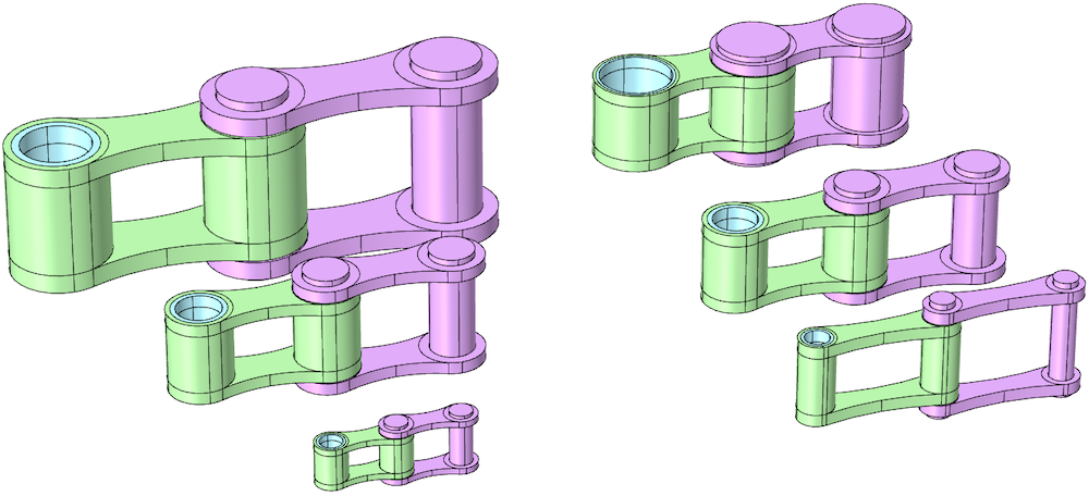 Side-by-side images showing roller chain units with similar and varying elements.