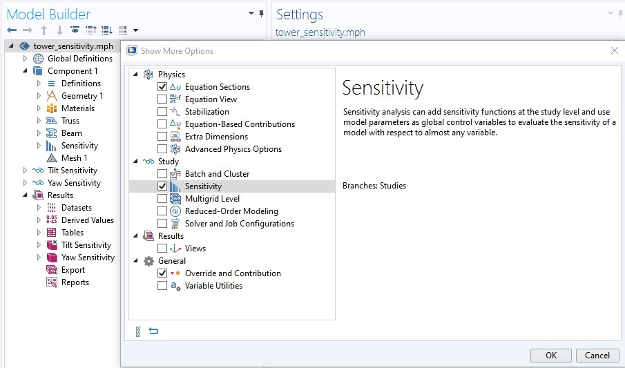A screenshot showing how to enable the Sensitivity study step in COMSOL Multiphysics.