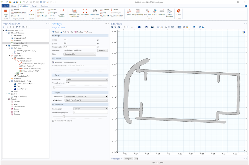 A screenshot of the solid geometry profile after importing a hand-drawn profile.