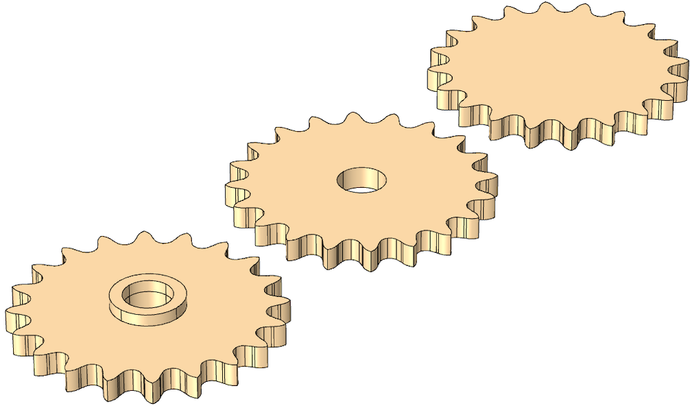 Three side-by-side images of sprocket geometries with different features.