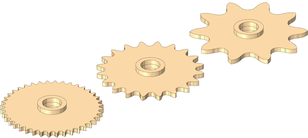 Three side-by-side images with sprockets that have different numbers of teeth.