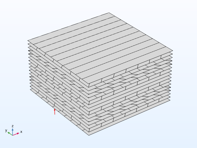 An image of the stacking sequence for the rim region of the wheel.