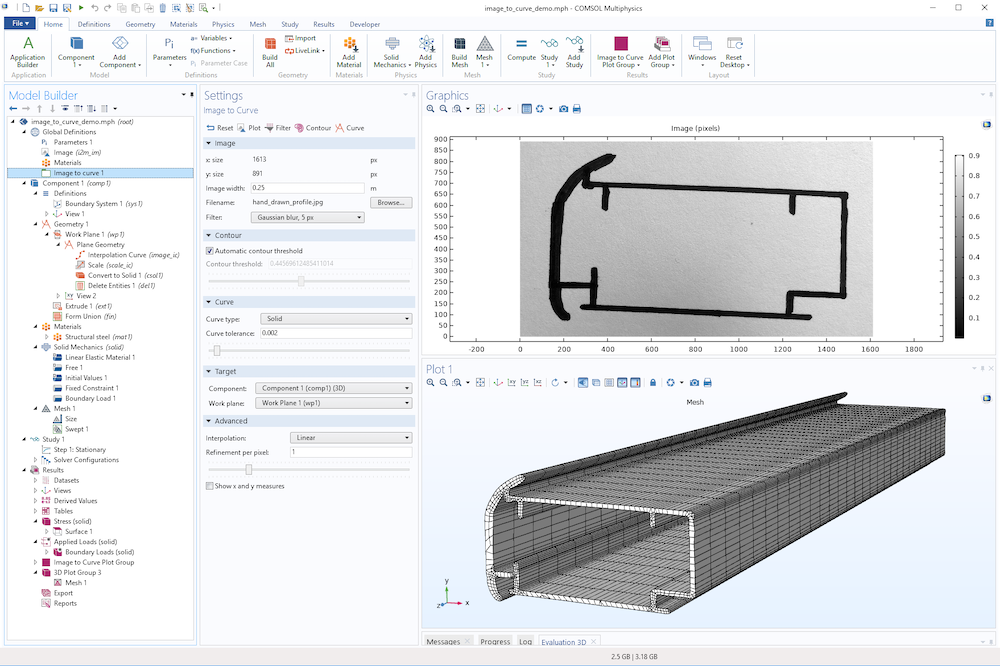 An image showing a swept mesh based on an imported photo, shown in the COMSOL Multiphysics UI.