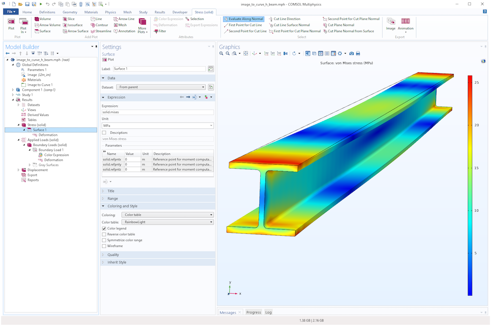 A screenshot showing the von Mises stress in an H-beam.