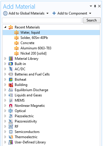 A screenshot of the Add Material window in COMSOL Multiphysics.