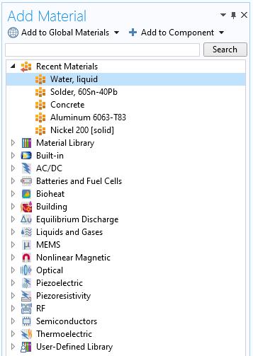 "COMSOL Multiphysics中""添加材料""窗口的屏幕截图."