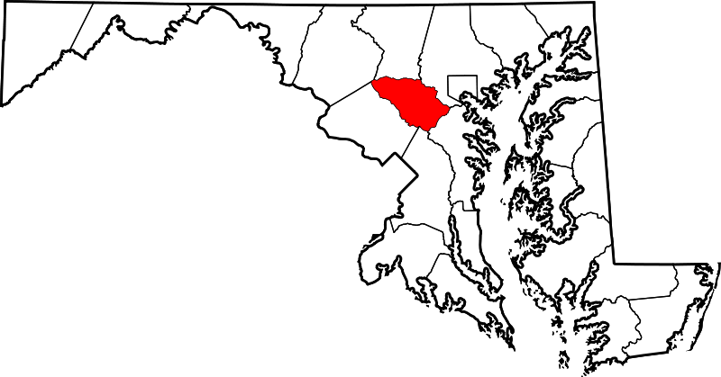 A map of Maryland with Howard County highlighted.