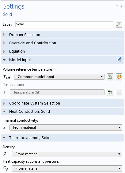 A screenshot of the settings window for one of the material libraries in COMSOL Multiphysics.