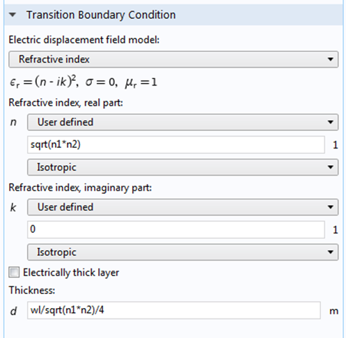 A screenshot of the Transition boundary condition settings.
