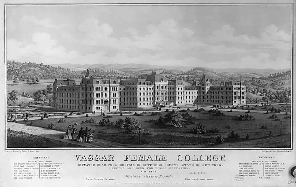 A black-and-white illustration of Vassar College in New York.