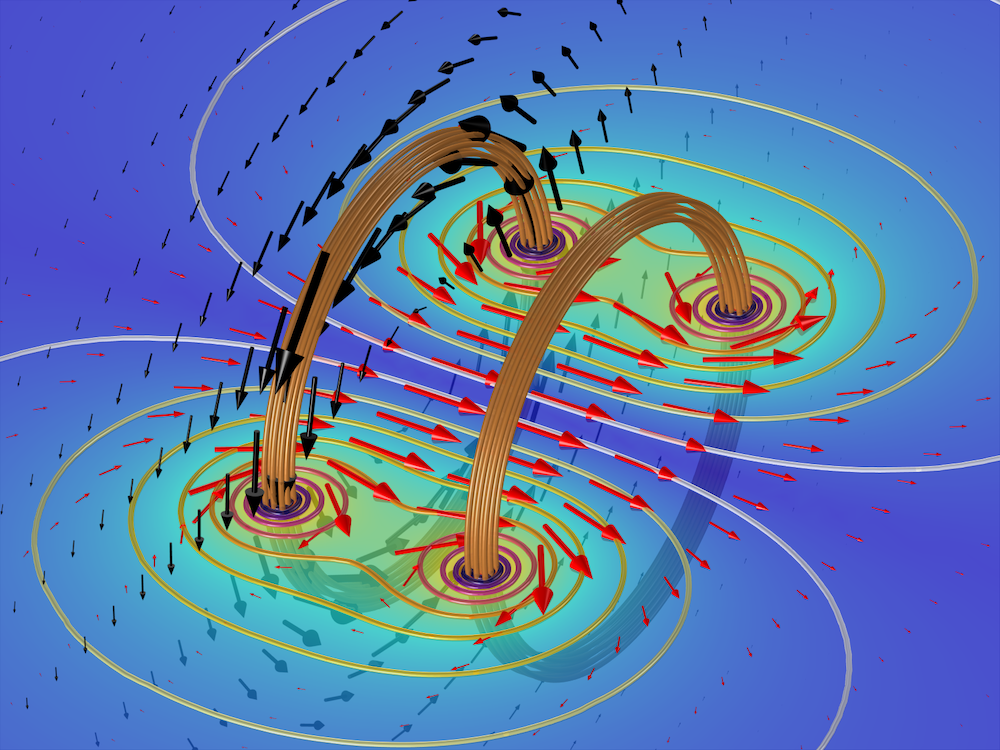 An image of a Helmholtz coil modeled using gauge fixing in COMSOL Multiphysics.