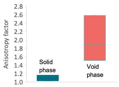 A graph comparing the anisotropy factor of the solid and void phases.