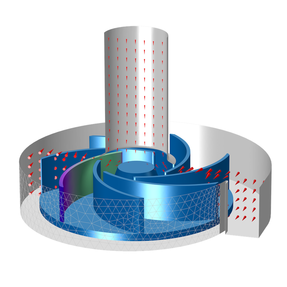 An image of a centrifugal pump simulated in COMSOL Multiphysics with the Navier–Stokes equations.