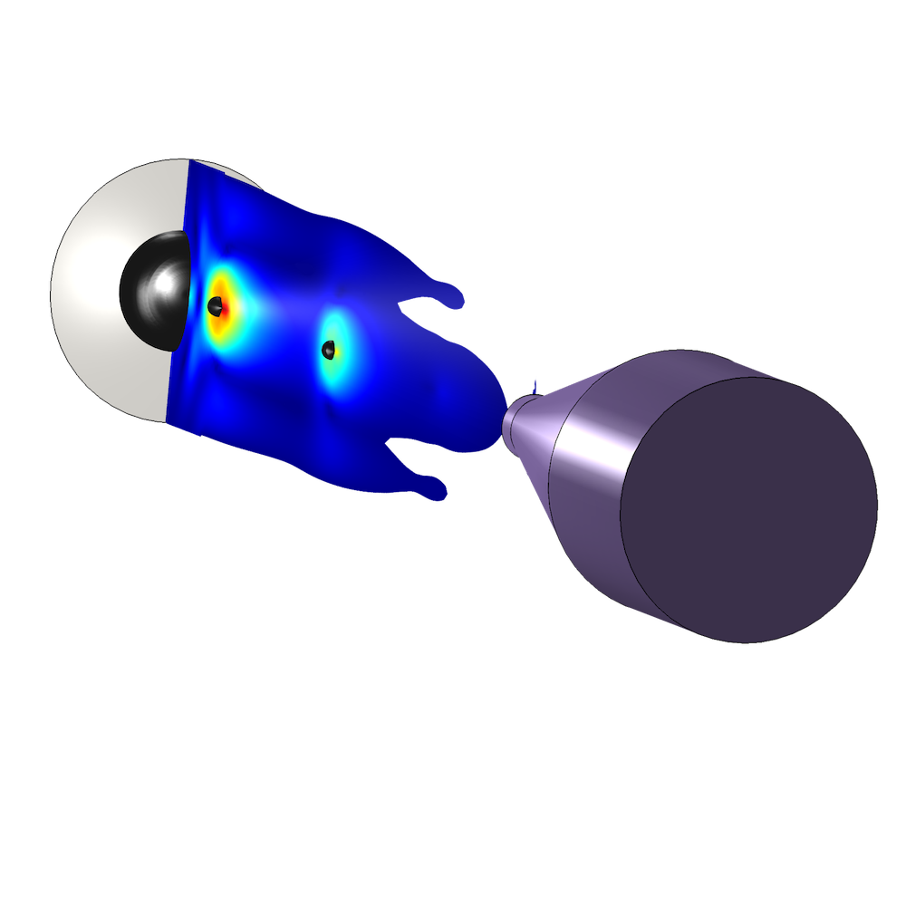 An image of an inkjet nozzle simulated in COMSOL Multiphysics.