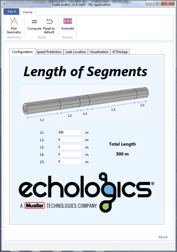 The Configuration tab of a pipe leak locator simulation app showing the geometry segments for a pipe example.