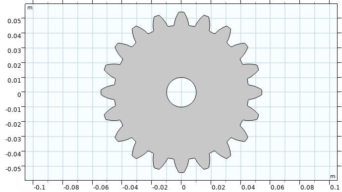 An image showing the geometry for a spur gear model with 20 teeth.