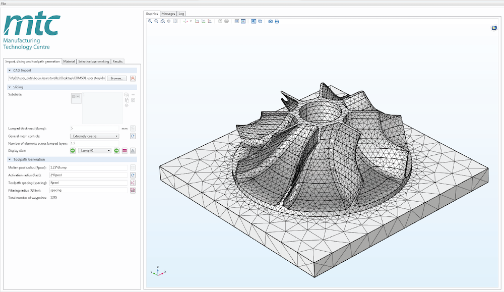 The UI of a simulation app with the mesh for a sample design shown in the graphics window.