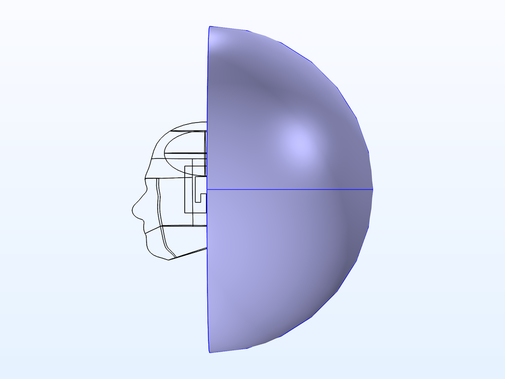 An image showing the model domain with the PML highlighted and half removed to show the interior.