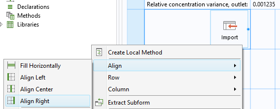 A screenshot showing how to align the CAD Import button to the right of a simulation app layout.