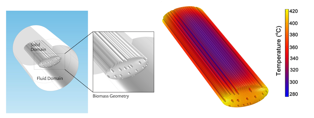 Side-by-side graphics of the model geometry and temperature distribution for a hardwood biomass particle.