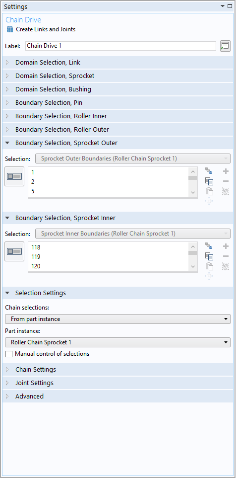A screenshot showing the boundary selection inputs for sprockets.