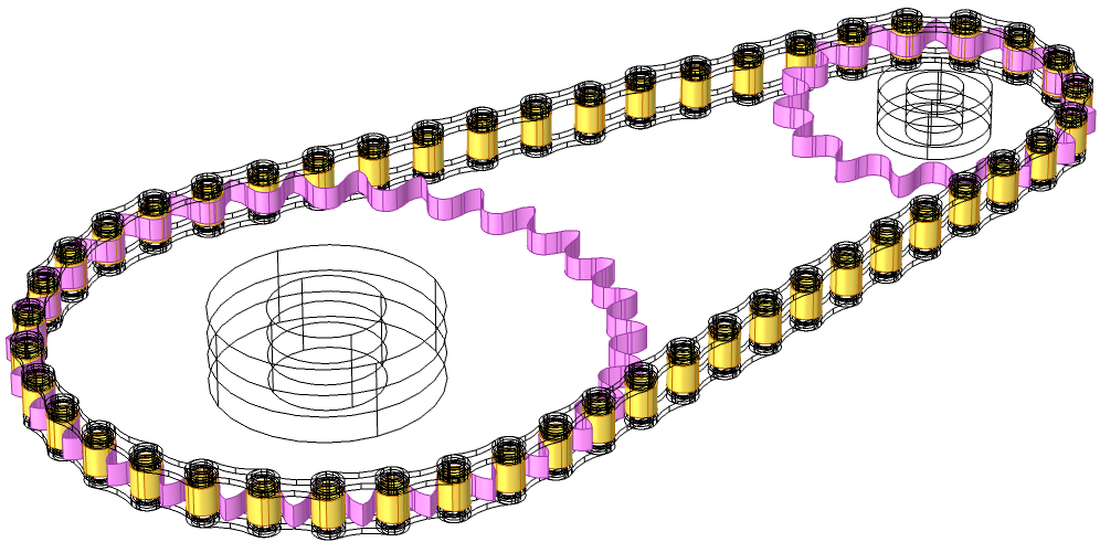 A model of a roller chain geometry with the contact pair between rollers and sprockets highlighted.