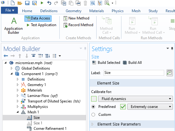 A screenshot of the Data Access button in the Application Builder being used to enable access to an element size property called Predefined.